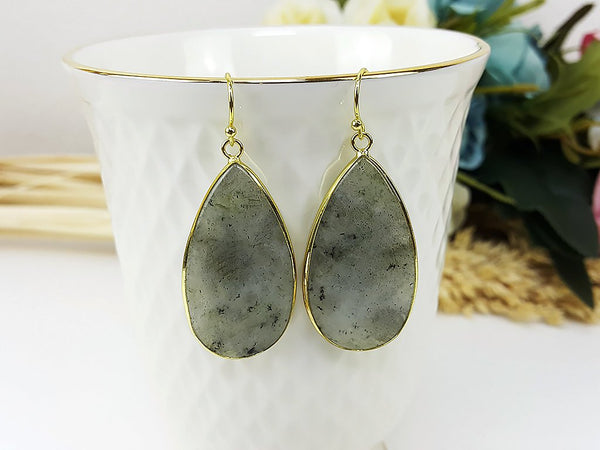 (ETB0001D-3) Labradorite Quartz Water Drop Earrings Stone Earrings Jewelry Long Earrings Dangle Earrings Bridesmaid Gift For Mom Gift For Her, Piida, HaremPantsThai