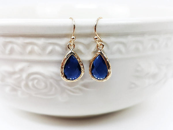 (EPDF3726-2) Sapphire Dark Blue Gold Earring September Birthstone Wedding Jewelry Bridesmaid Gift For Mom Gift For Her, Piida, HaremPantsThai