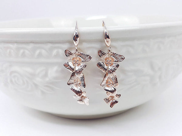 Rose Gold Flower Earrings Drop Earrings Dangles Earrings Wedding Jewelry Bridesmaid Earrings Gift For Mom Gift For Her (EBBO138PK)