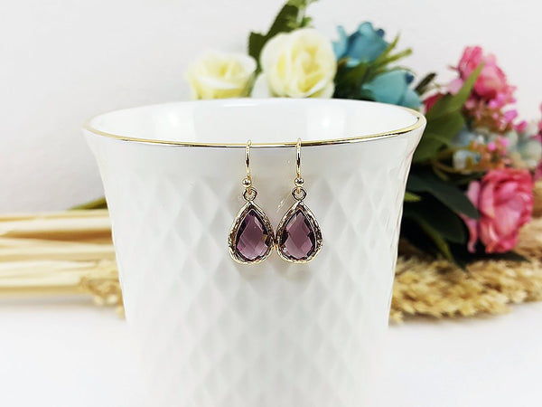 (EPDF3726-1) Amethyst Gold Earring February Birthstone Wedding Jewelry Bridesmaid Gift For Mom Gift For Her, Piida, HaremPantsThai