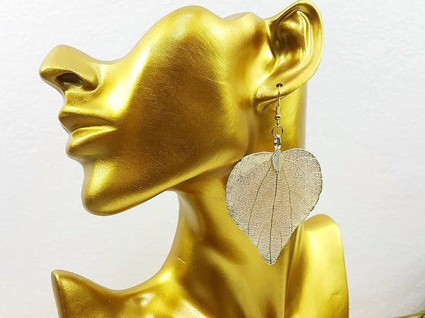 (ELF002CG) Champagne Gold Unique Natural Real Leaf Earring Bohemian Jewelry Long Earring Dangle Earring Bridesmaid Gift For Mom Gift For Her
