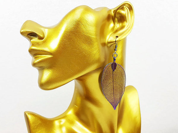 (ELF001ML) Rainbow Unique Natural Real Leaf Earring Bohemian Jewelry Long Earring Dangle Earring Bridesmaid Gift For Mom Gift For Her