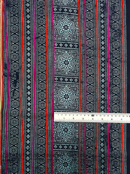 Thai Hand printed Fabric Natural Cotton Fabric by the yard Hmong Fabric Hill Tribe Fabric Vintage Fabric Indigo Batik Pale Blue Black HF28