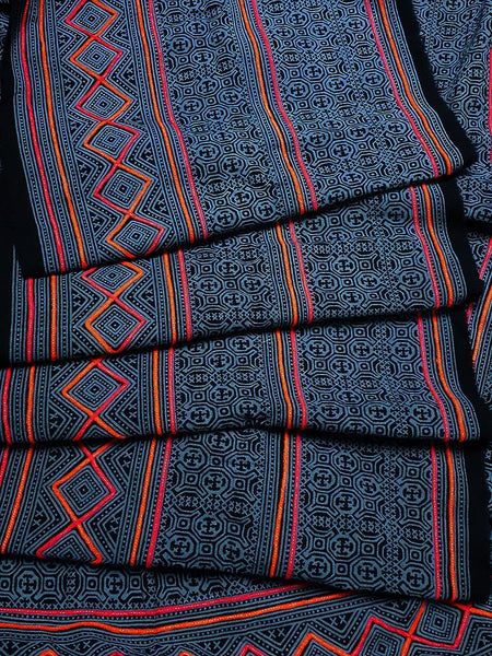 Thai Hand printed Fabric Natural Cotton Fabric by the yard Hmong Fabric Hill Tribe Fabric Vintage Fabric Indigo Batik Turquoise Black HF39