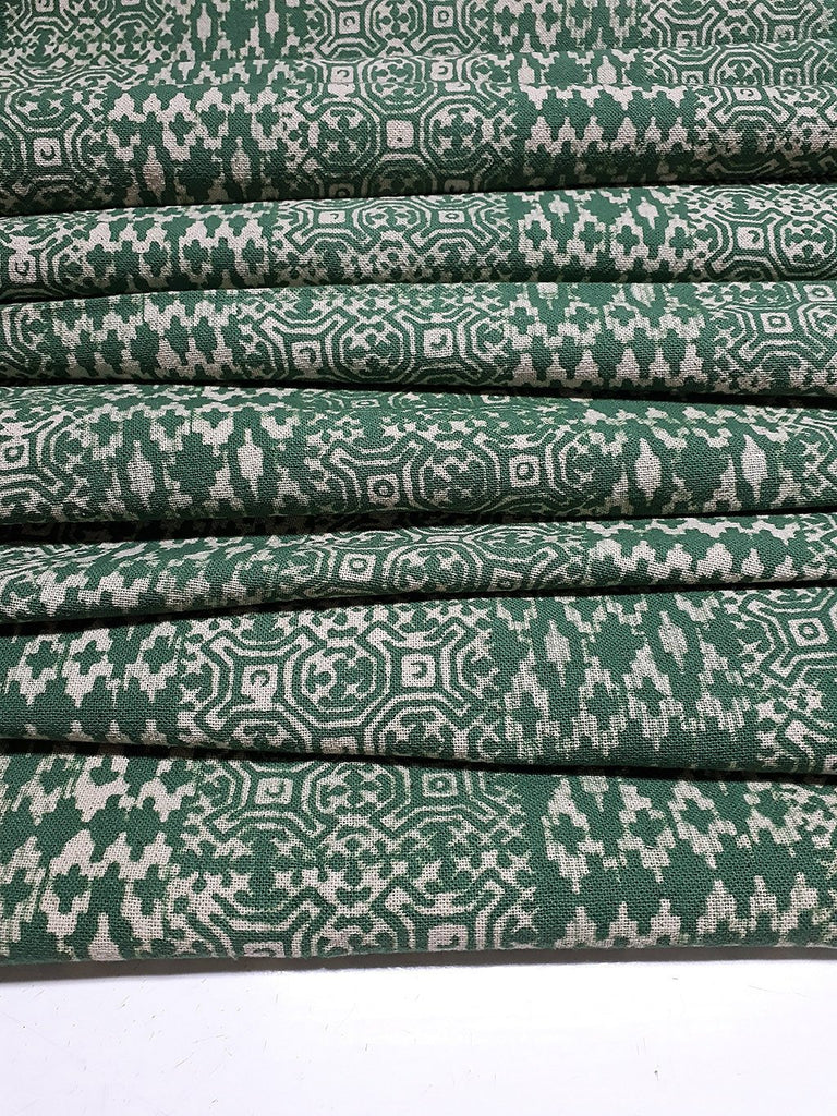 Thai Hand printed Fabric Natural Cotton Fabric by the yard Hmong Fabric Hill Tribe Fabric Vintage Fabric Batik Fabric Asparagus Green HFP4