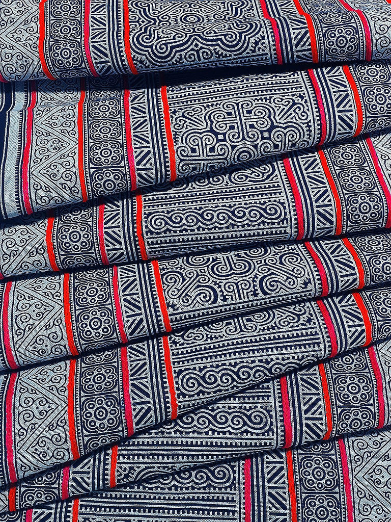 Thai Hand printed Fabric Natural Cotton Fabric by the yard Hmong Fabric Hill Tribe Fabric Vintage Fabric Indigo Batik Black White HF47