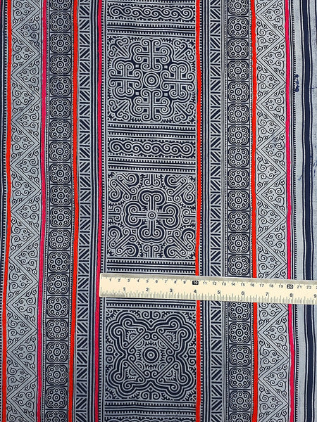 Thai Hand printed Fabric Natural Cotton Fabric by the yard Hmong Fabric Hill Tribe Fabric Vintage Fabric Indigo Batik Black White HF49