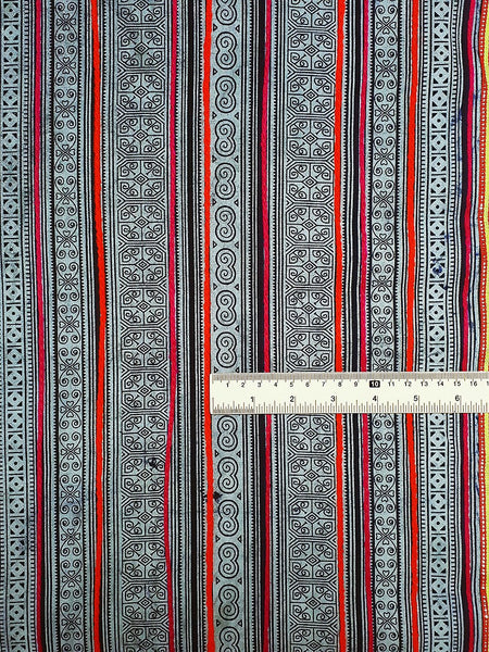 Thai Hand printed Fabric Natural Cotton Fabric by the yard Hmong Fabric Hill Tribe Fabric Vintage Fabric Indigo Batik Black White HF9