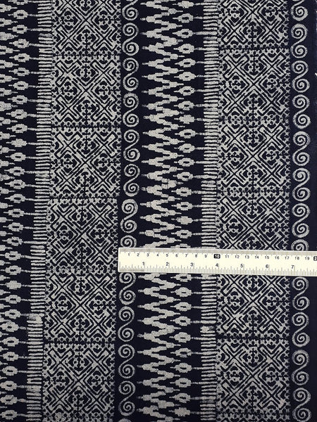 Thai Hand printed Fabric Natural Cotton Fabric by the yard Hmong Fabric Hill Tribe Fabric Vintage Fabric Batik Fabric Indigo Blue HFI11