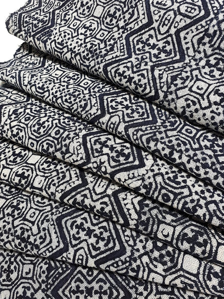 Thai Hand printed Fabric Natural Cotton Fabric by the yard Hmong Fabric Hill Tribe Fabric Vintage Fabric Batik Fabric Indigo Blue HFS13