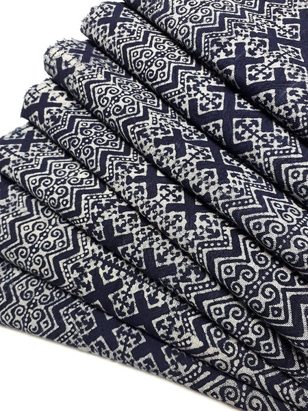 Thai Hand printed Fabric Natural Cotton Fabric by the yard Hmong Fabric Hill Tribe Fabric Vintage Fabric Batik Fabric Indigo Blue HFS6