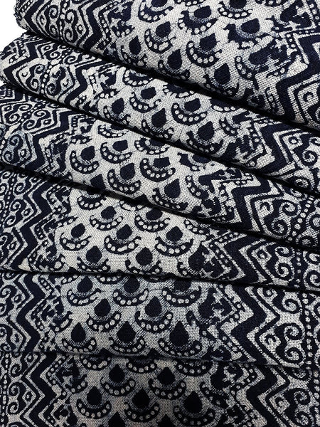 Thai Hand printed Fabric Natural Cotton Fabric by the yard Hmong Fabric Hill Tribe Fabric Vintage Fabric Batik Fabric Indigo Blue HFS9