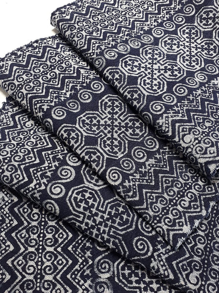 Thai Hand printed Fabric Natural Cotton Fabric by the yard Hmong Fabric Hill Tribe Fabric Vintage Fabric Batik Fabric Indigo Blue HFS4