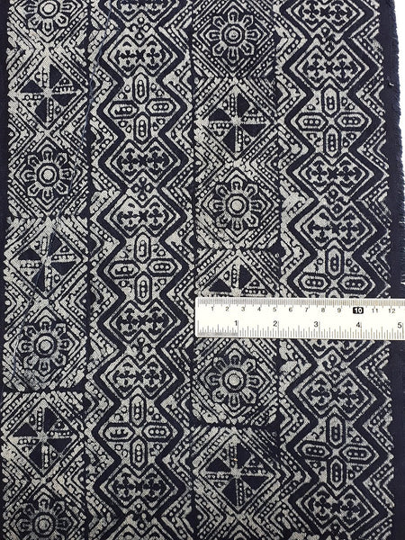 Thai Hand printed Fabric Natural Cotton Fabric by the yard Hmong Fabric Hill Tribe Fabric Vintage Fabric Batik Fabric Indigo Blue HFS11