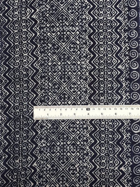 Thai Hand printed Fabric Natural Cotton Fabric by the yard Hmong Fabric Hill Tribe Fabric Vintage Fabric Batik Fabric Indigo Blue HFS10