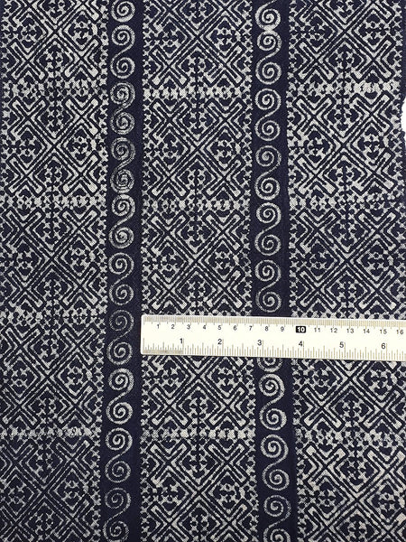 Thai Hand printed Fabric Natural Cotton Fabric by the yard Hmong Fabric Hill Tribe Fabric Vintage Fabric Batik Fabric Indigo Blue HFS15