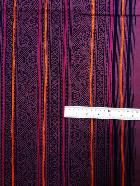 Thai Hand printed Fabric Natural Cotton Fabric by the yard Hmong Fabric Hill Tribe Fabric Vintage Fabric Indigo Batik Purple Black HF30