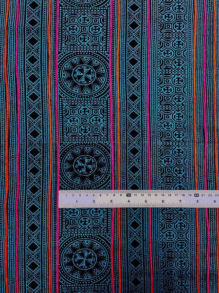 Thai Hand printed Fabric Natural Cotton Fabric by the yard Hmong Fabric Hill Tribe Fabric Vintage Fabric Indigo Batik Turquoise Black HF35