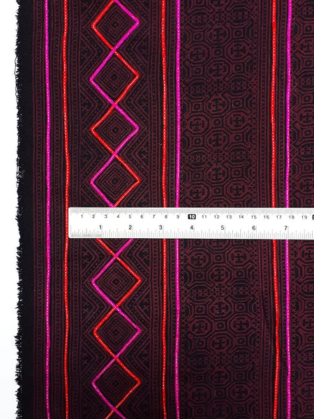Thai Hand printed Fabric Natural Cotton Fabric by the yard Hmong Fabric Hill Tribe Fabric Vintage Fabric Indigo Batik Dark Red Black HF52