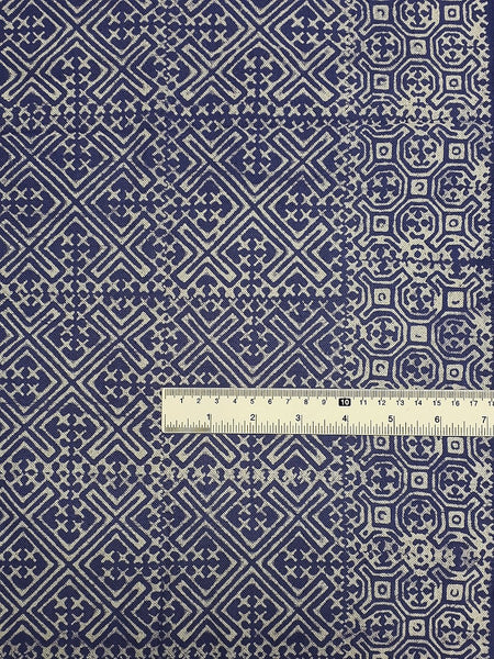Thai Hand printed Fabric Natural Cotton Fabric by the yard Hmong Fabric Hill Tribe Fabric Vintage Fabric Batik Fabric Iris Purple HFP11