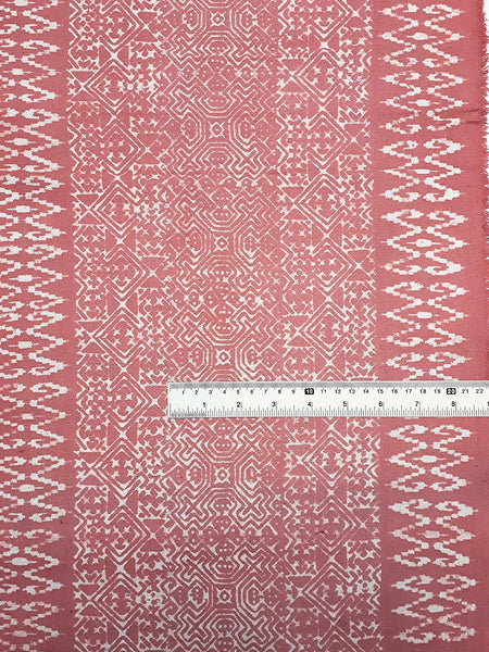 Thai Hand printed Fabric Natural Cotton Fabric by the yard Hmong Fabric Hill Tribe Fabric Vintage Fabric Batik Fabric Peach HFP15