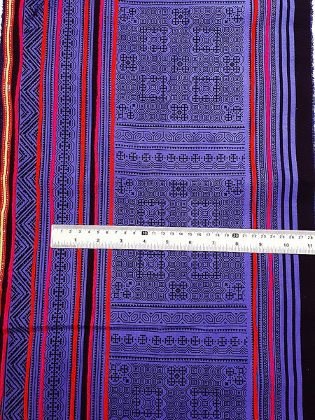 Thai Hand printed Fabric Natural Cotton Fabric by the yard Hmong Fabric Hill Tribe Fabric Vintage Fabric Indigo Batik Violet Black HF36