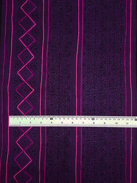 Thai Hand printed Fabric Natural Cotton Fabric by the yard Hmong Fabric Hill Tribe Fabric Vintage Fabric Indigo Batik Purple Black HF41