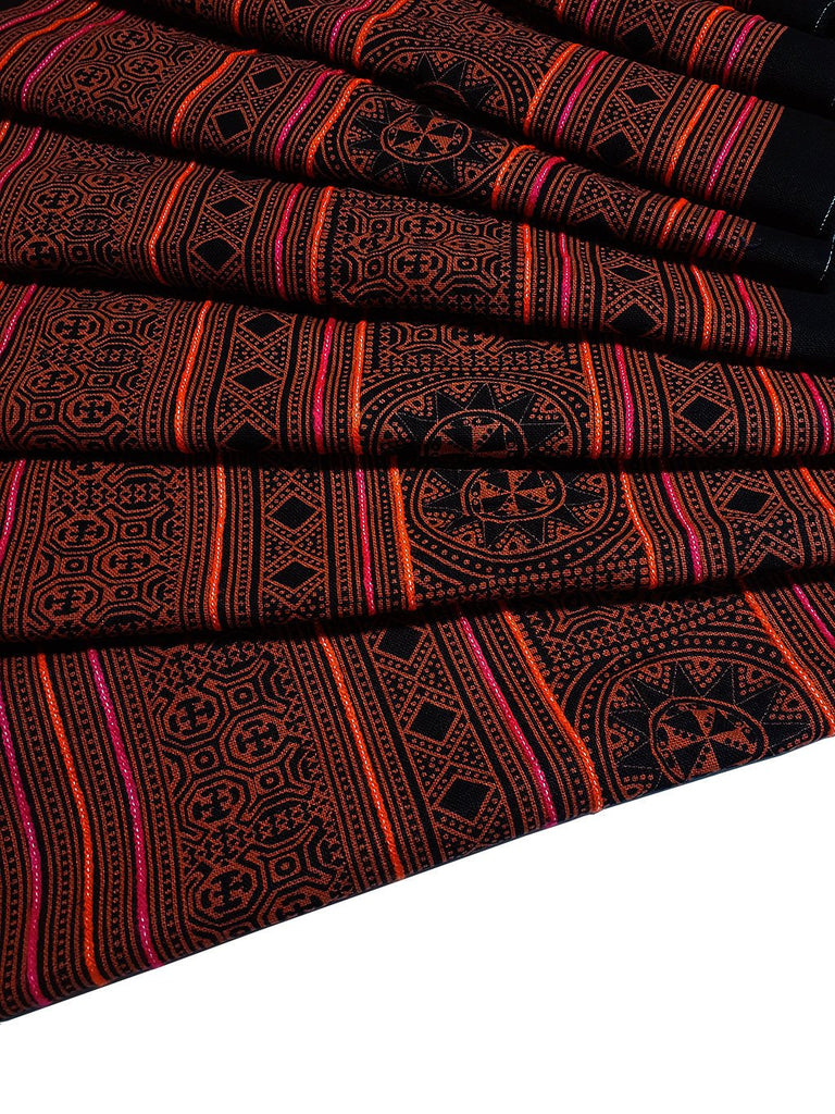 Thai Hand printed Fabric Natural Cotton Fabric by the yard Hmong Fabric Hill Tribe Fabric Vintage Fabric Indigo Batik Orange Black HF43