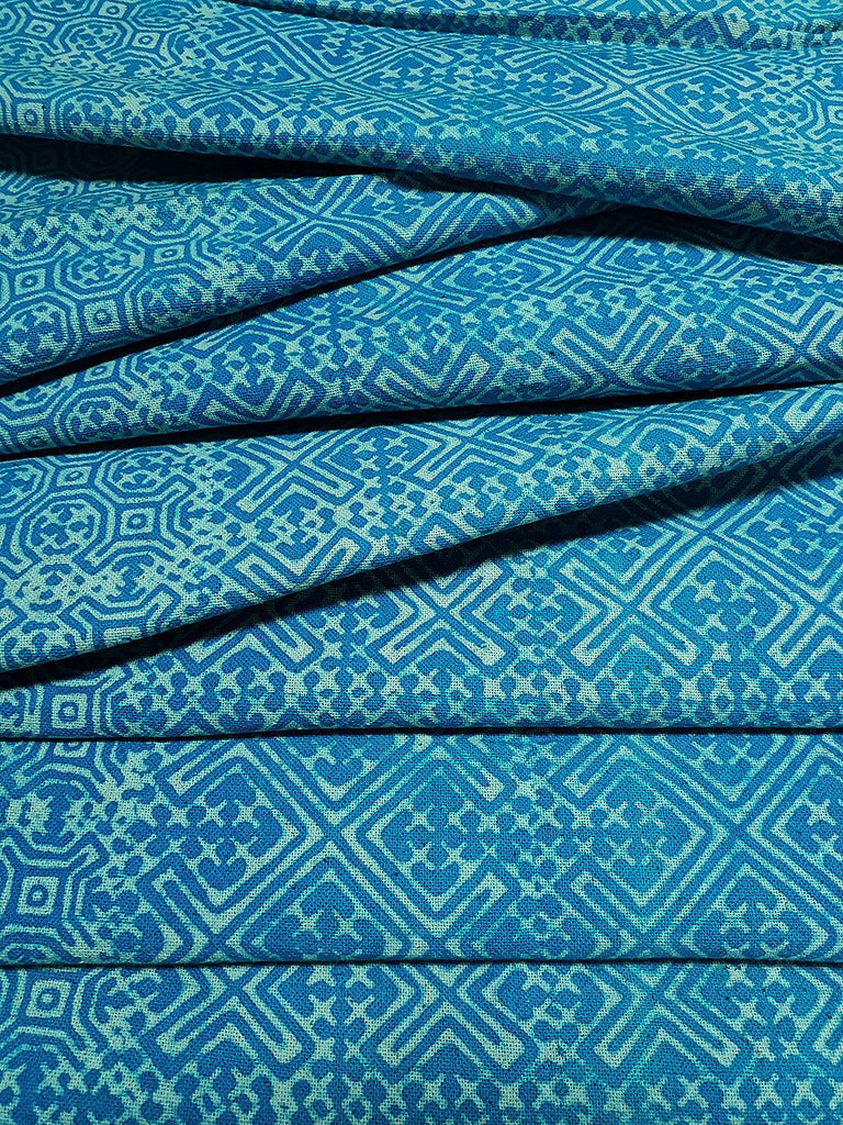 Thai Hand printed Fabric Natural Cotton Fabric by the yard Hmong Fabric Hill Tribe Fabric Vintage Fabric Batik Fabric Turquoise Blue HFP1
