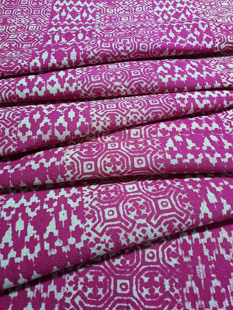 Thai Hand printed Fabric Natural Cotton Fabric by the yard Hmong Fabric Hill Tribe Fabric Vintage Fabric Batik Fabric Hot Pink HFP2
