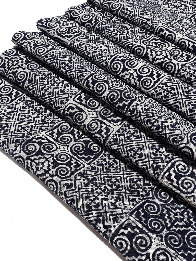 Thai Hand printed Fabric Natural Cotton Fabric by the yard Hmong Fabric Hill Tribe Fabric Vintage Fabric Batik Fabric Indigo Blue HFI2