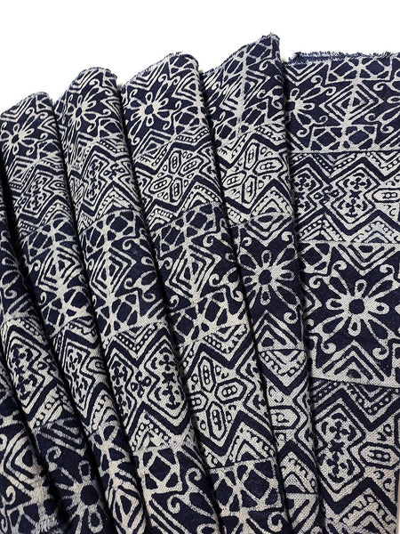 Thai Hand printed Fabric Natural Cotton Fabric by the yard Hmong Fabric Hill Tribe Fabric Vintage Fabric Batik Fabric Indigo Blue HFI3