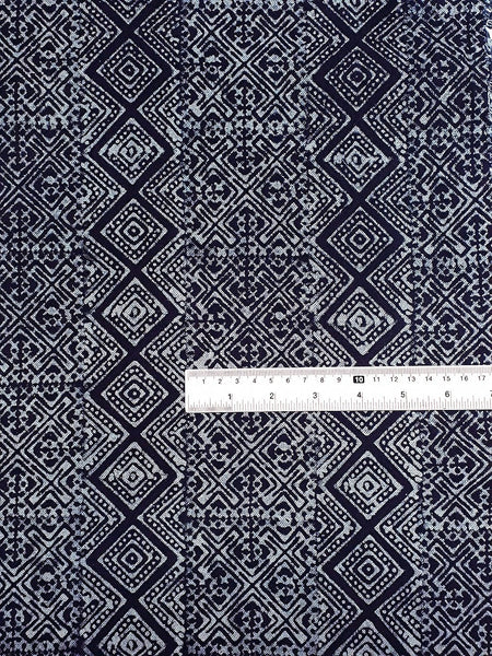 Thai Hand printed Fabric Natural Cotton Fabric by the yard Hmong Fabric Hill Tribe Fabric Vintage Fabric Batik Fabric Indigo Blue HFI6