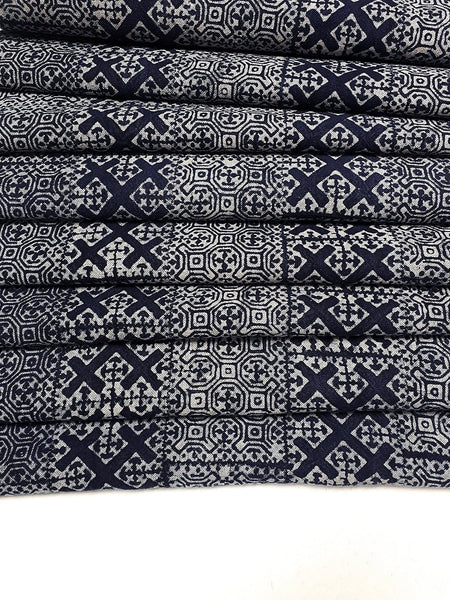 Thai Hand printed Fabric Natural Cotton Fabric by the yard Hmong Fabric Hill Tribe Fabric Vintage Fabric Batik Fabric Indigo Blue HFI12