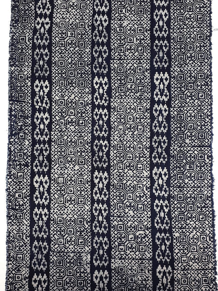 Thai Hand printed Fabric Natural Cotton Fabric by the yard Hmong Fabric Hill Tribe Fabric Vintage Fabric Batik Fabric Indigo Blue HFI13
