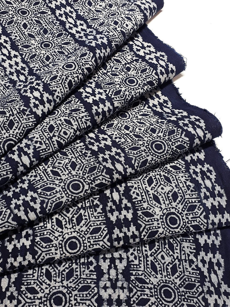 Thai Hand printed Fabric Natural Cotton Fabric by the yard Hmong Fabric Hill Tribe Fabric Vintage Fabric Batik Fabric Indigo Blue HFI9
