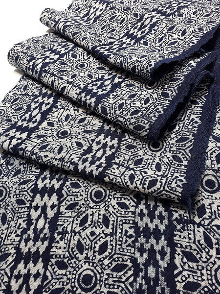 Thai Hand printed Fabric Natural Cotton Fabric by the yard Hmong Fabric Hill Tribe Fabric Vintage Fabric Batik Fabric Indigo Blue HFS1