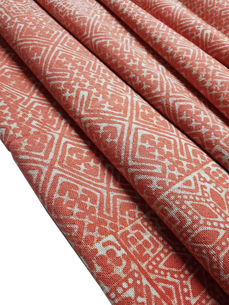 Thai Hand printed Fabric Natural Cotton Fabric by the yard Hmong Fabric Hill Tribe Fabric Vintage Fabric Batik Fabric Pumpkin Orange HFP7