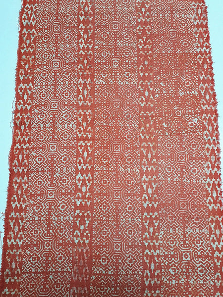 Thai Hand printed Fabric Natural Cotton Fabric by the yard Hmong Fabric Hill Tribe Fabric Vintage Fabric Batik Fabric Pumpkin Orange HFP8