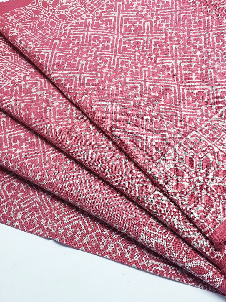Thai Hand printed Fabric Natural Cotton Fabric by the yard Hmong Fabric Hill Tribe Fabric Vintage Fabric Batik Fabric Punch Pink HFP14
