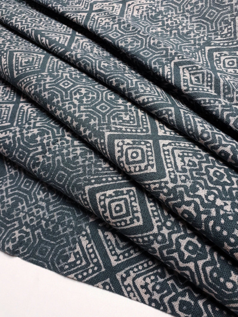 Thai Hand printed Fabric Natural Cotton Fabric by the yard Hmong Fabric Hill Tribe Fabric Vintage Fabric Batik Fabric Slate Gray HFP31