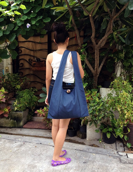 Canvas Handbags Shoulder bag Sling bag Hobo bag Boho  bag Tote bag Crossbody  Navy Blue, VeradaShop, HaremPantsThai