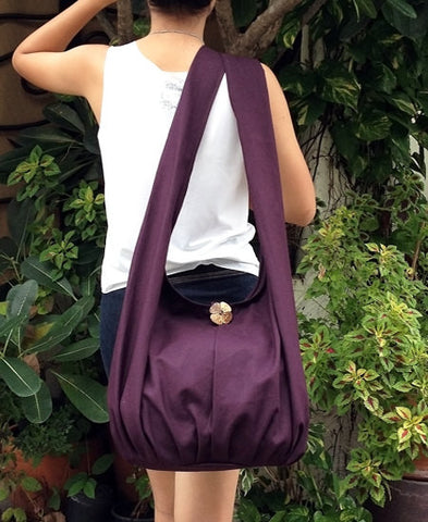 Canvas Handbags Shoulder bag Sling bag Hobo bag Boho  bag Tote bag Crossbody  Dark Purple, VeradaShop, HaremPantsThai