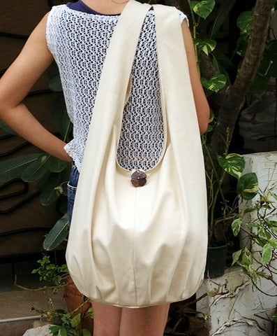 Canvas Handbags Shoulder bag Sling bag Hobo bag Boho  bag Tote bag Crossbody  Cream, VeradaShop, HaremPantsThai
