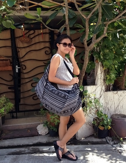 Woven Bag backpack Hobo Boho bag Shoulder Bag Crossbody Bag Tribal bag Gypsy Black White, VeradaShop, HaremPantsThai