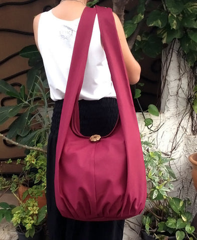 Canvas Handbags Shoulder bag Sling bag Hobo bag Boho  bag Tote bag Crossbody  Maroon, VeradaShop, HaremPantsThai