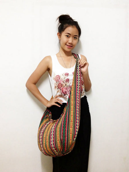 Woven Cotton bag Hobo Boho bag Shoulder Bag Sling bag Gypsy bag Crossbody bag Long straps (WF31), VeradaShop, HaremPantsThai