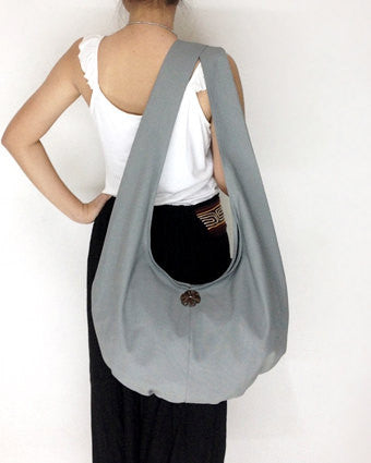 Canvas Handbags Shoulder bag Sling bag Hobo bag Boho  bag Tote bag Crossbody  Gray, VeradaShop, HaremPantsThai
