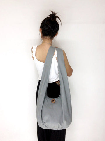 Canvas Handbags Shoulder bag Sling bag Hobo bag Boho bag Tote bag Crossbody bag  Light Gray, VeradaShop, HaremPantsThai