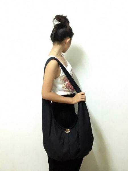 Canvas Handbags Shoulder bag Sling bag Hobo bag Boho  bag Tote bag Crossbody  Black, VeradaShop, HaremPantsThai